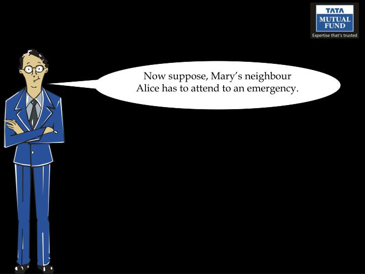 Now suppose, Mary's neighbour Alice has to attend to an emergency.