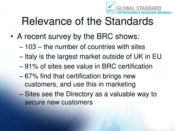 Relevance of the Standards