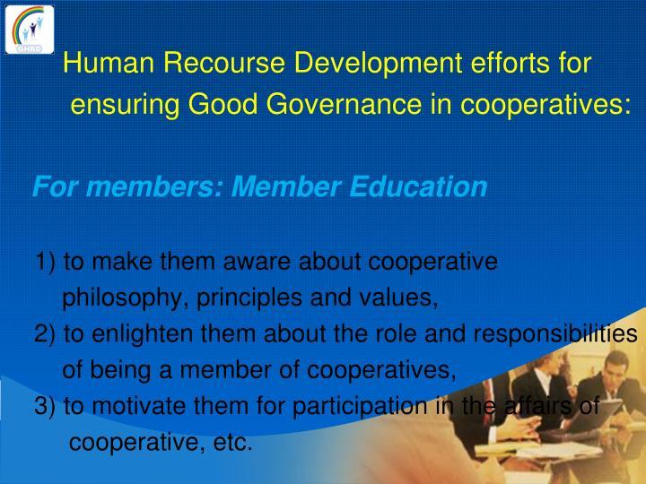 Human Recourse Development efforts for