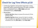 check for lag time effects p1101