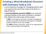 creating a work breakdown structure with summary tasks p 114
