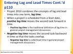 entering lag and lead times cont d p110
