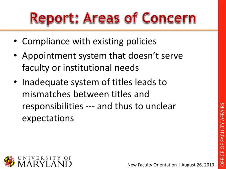 Report: Areas of Concern