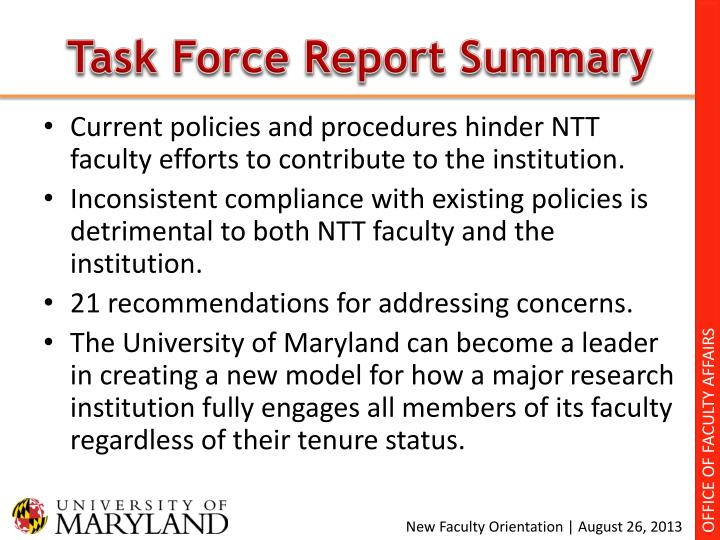 Task Force Report Summary