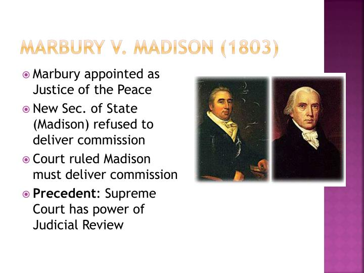 marbury v madison 5 u s 1 cranch 137 1803 1 5 us 137 3 1 cranch 137 5 2 led 60 7 william marbury 9 v 11 james madison, secretary of state of the united states 13 february term, 1803 15 at the december term 1801, william marbury, dennis ramsay, robert townsend hooe, and william harper, by their counsel.