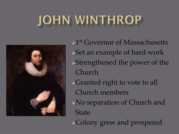 john winthrops speech John winthrop explains the puritan conception of freedom and distinguishes between natural liberty (acting without restraint) and moral liberty (a liberty to do what is good) john winthrop, speech to the massachusetts general court (1645.