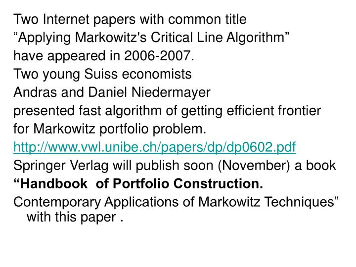 Two Internet papers