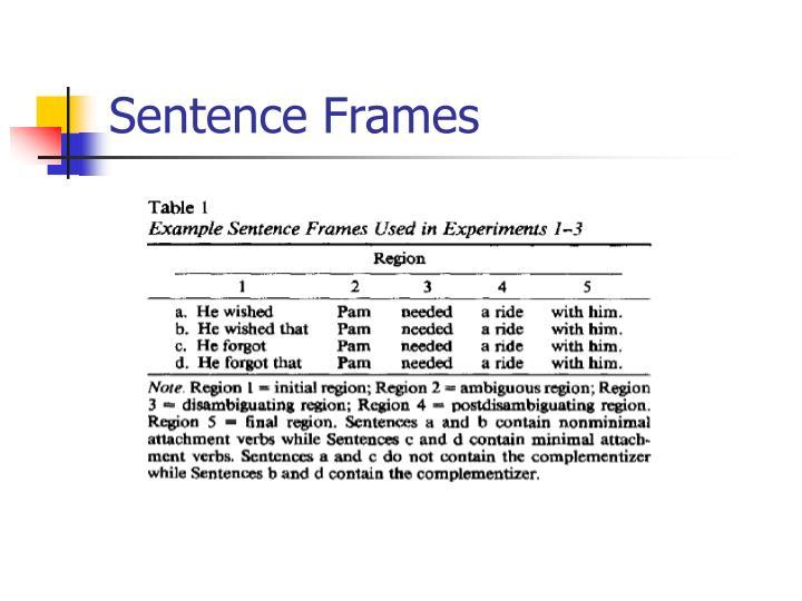Sentence Frames