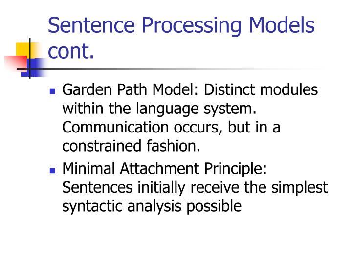 Sentence processing models cont