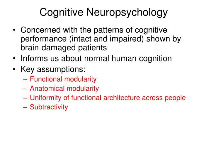 Cognitive neuropsychology1