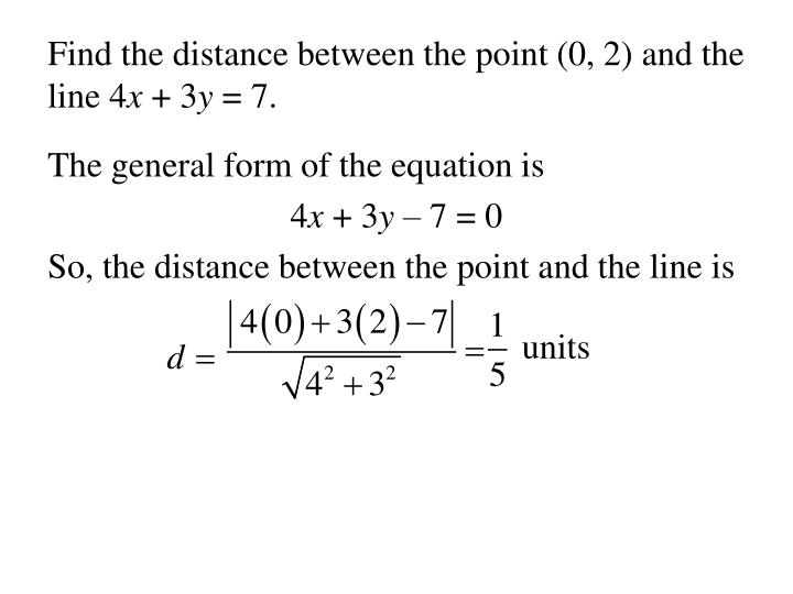 Find the distance between the point (0, 2) and the line