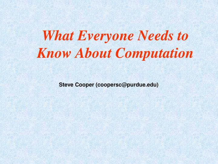 what everyone needs to know about computation