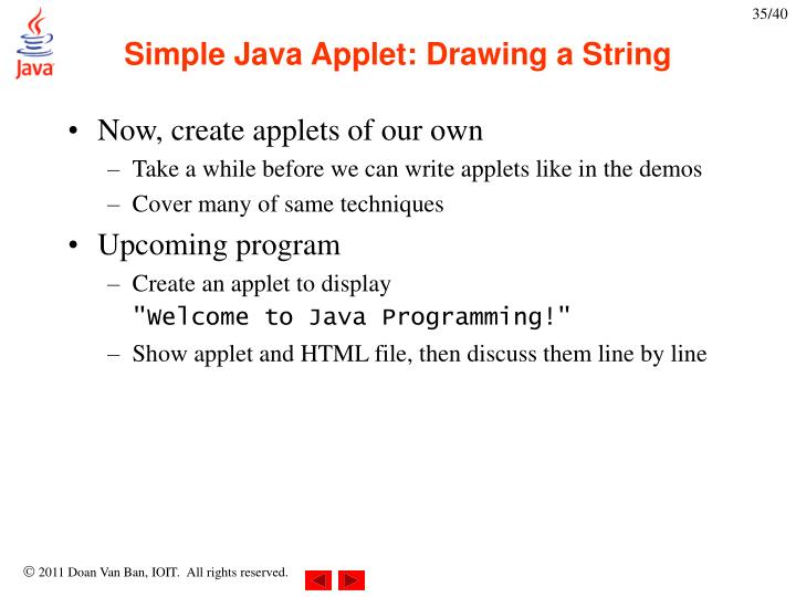 Drawing Lines Java Applet : Ppt chapter introduction to java programming