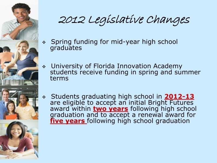 2012 Legislative Changes