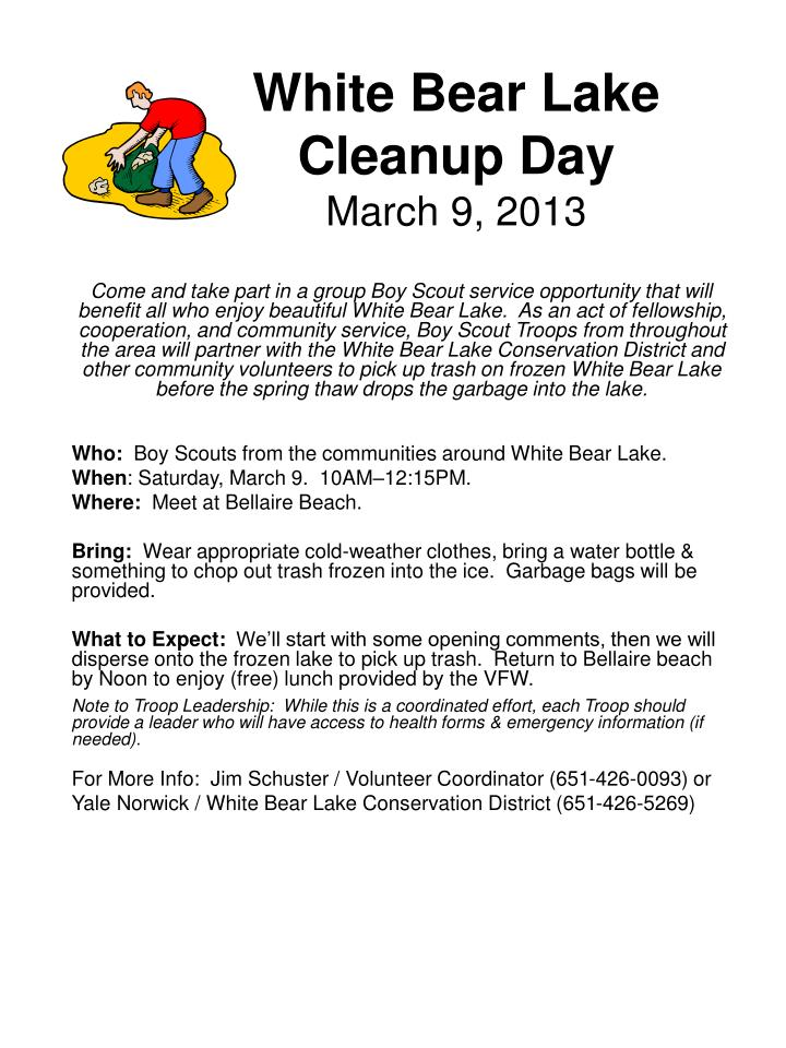 White bear lake cleanup day march 9 2013