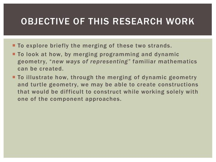 Objective of this research work