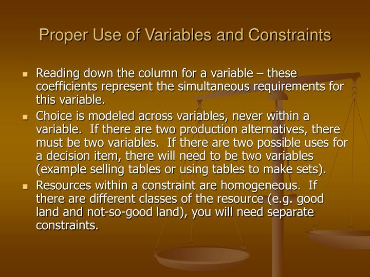 Proper Use of Variables and Constraints