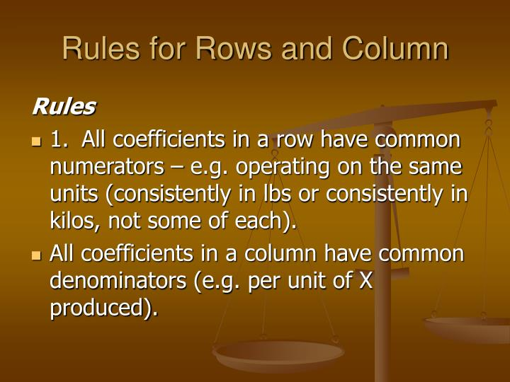 Rules for Rows and Column