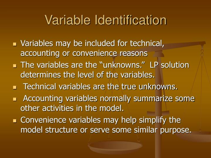 Variable Identification