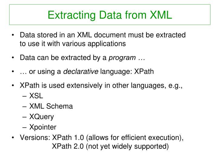Extracting data from xml