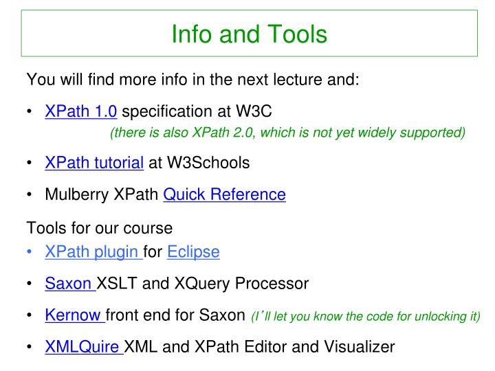 Info and Tools