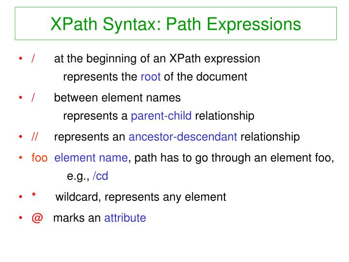 XPath Syntax: Path Expressions