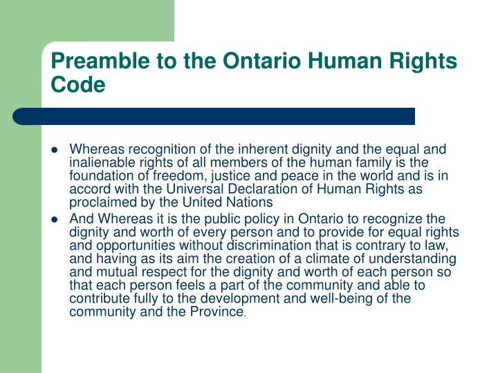 Preamble to the Ontario Human Rights Code