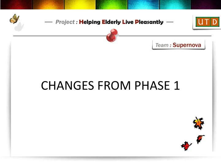 CHANGES FROM PHASE 1