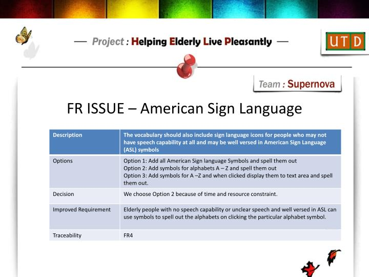 FR ISSUE – American Sign Language