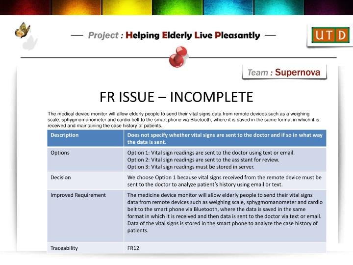 FR ISSUE – INCOMPLETE