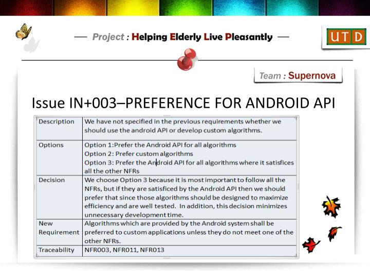 Issue IN+003–PREFERENCE FOR ANDROID API