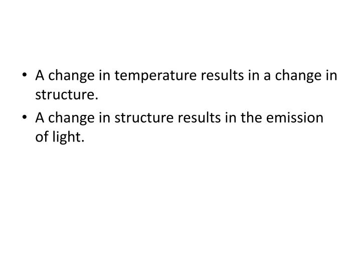 A change in temperature results in a change in structure.