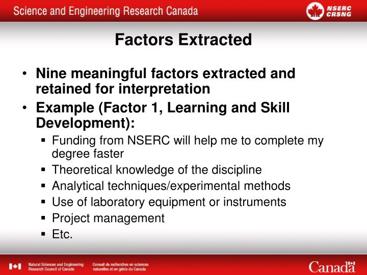 Nine meaningful factors extracted and retained for interpretation