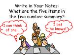 write in your notes what are the five items in the five number summary