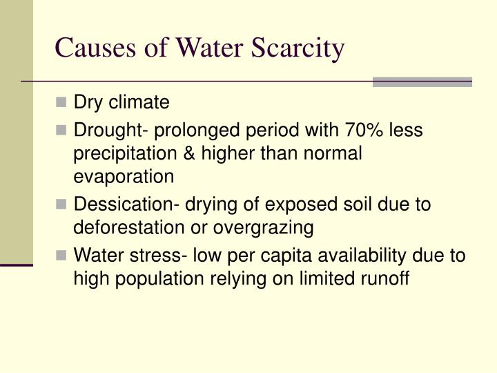 Causes of Water Scarcity