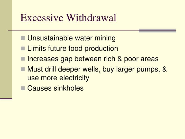 Excessive Withdrawal