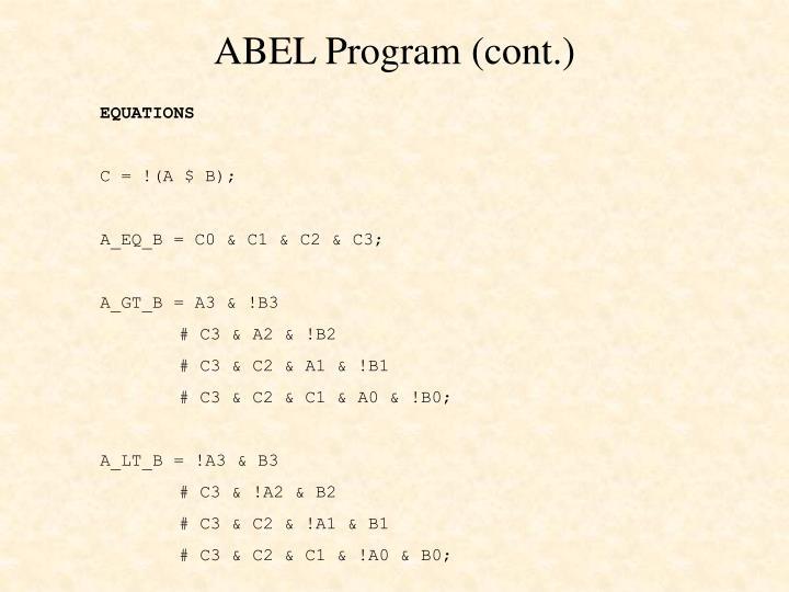 ABEL Program (cont.)