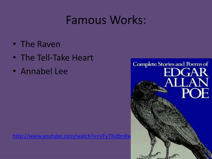 the raven and annabel lee By connecting annabel lee with something bright and enduring, edgar allan poe shows how eternal the narrator and annabel lee's love is a lot of edgar allan poe's work features supernatural entities.