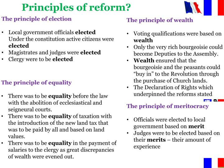 Principles of reform?