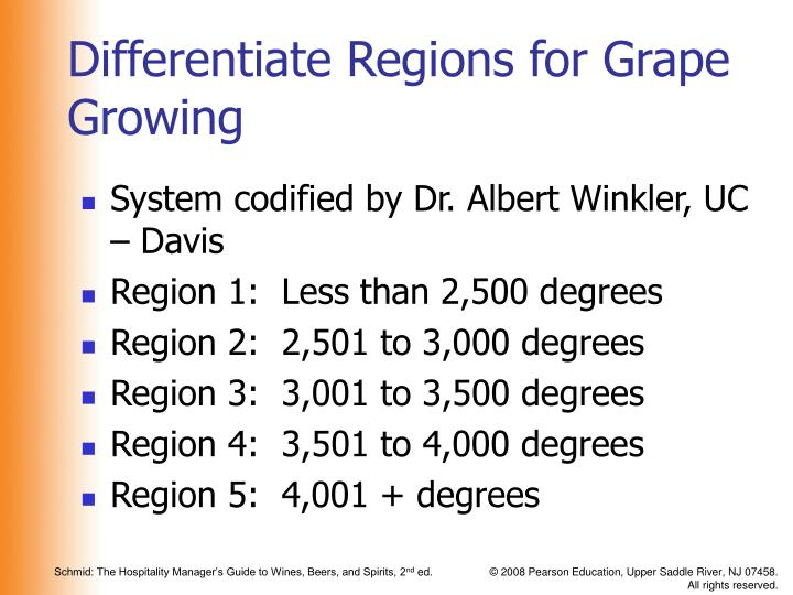 Differentiate Regions for Grape Growing