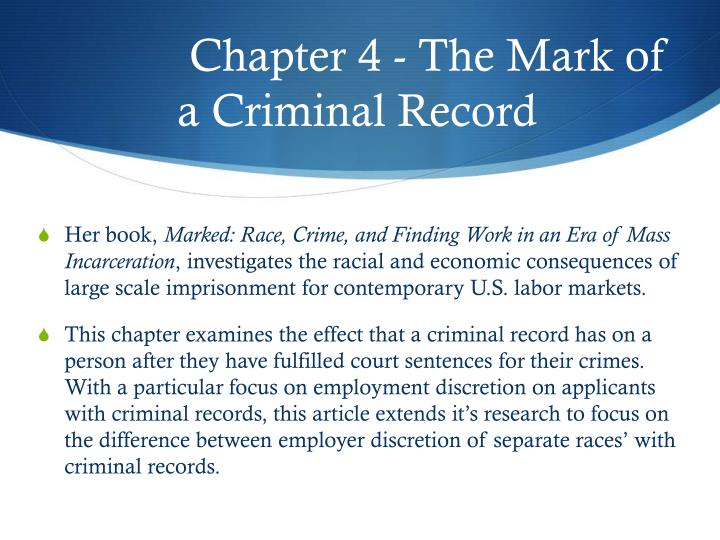 Chapter 4 - The Mark of a Criminal Record
