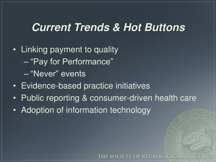 Current Trends & Hot Buttons