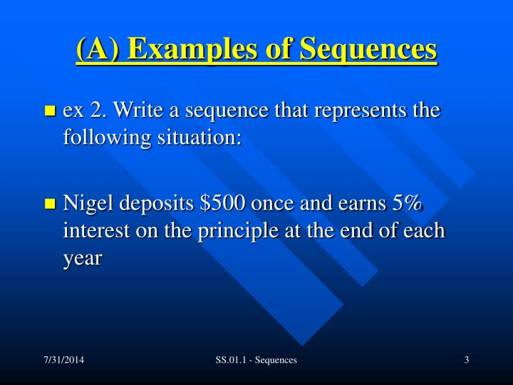 A examples of sequences