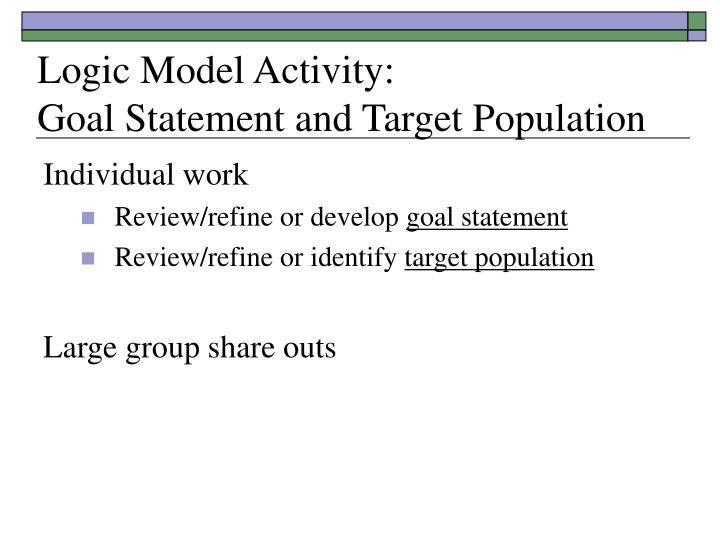 Logic Model Activity: