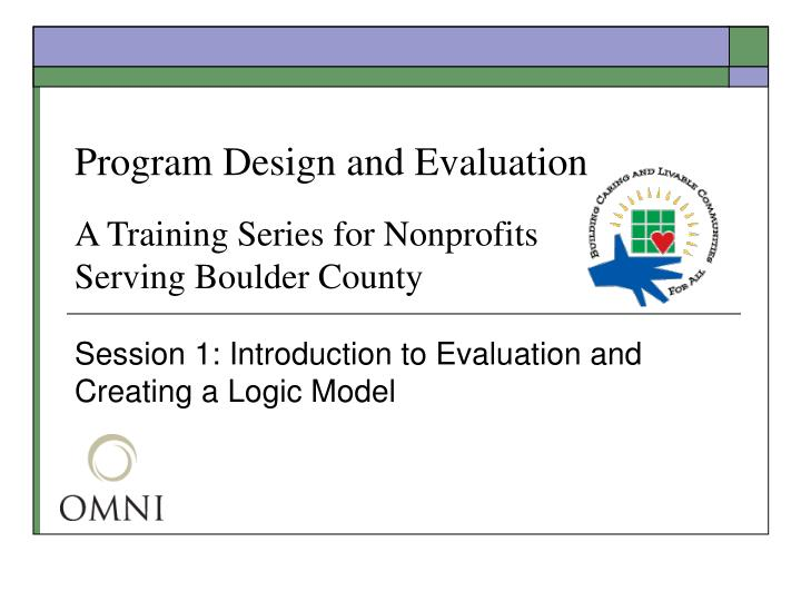 Program design and evaluation a training series for nonprofits serving boulder county