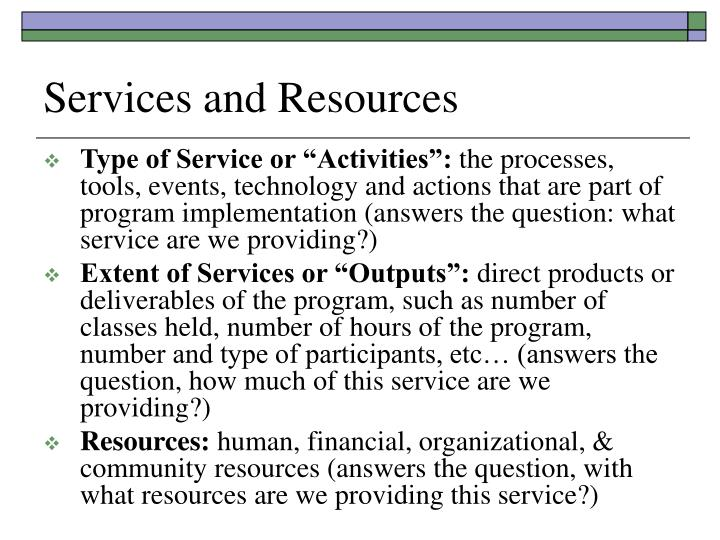 Services and Resources