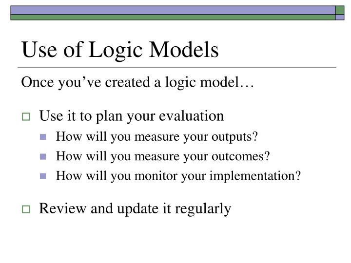 Use of Logic Models