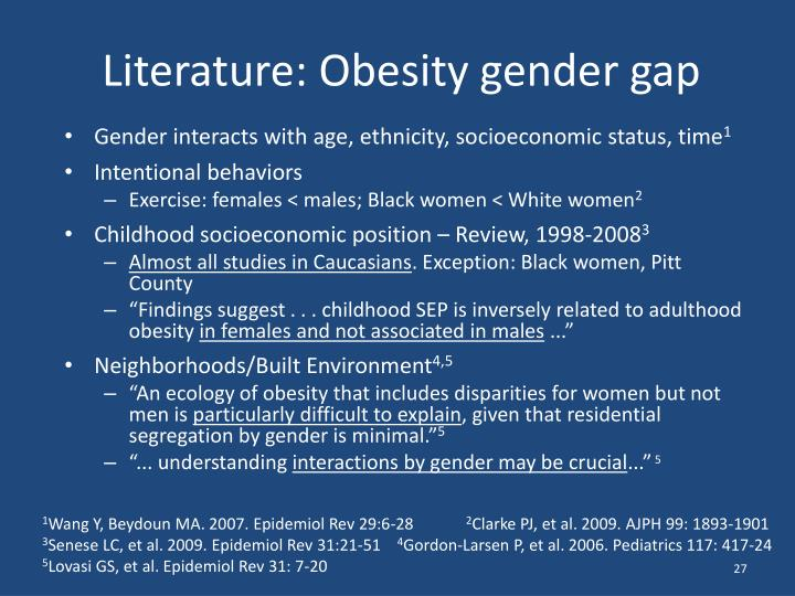Literature: Obesity gender gap