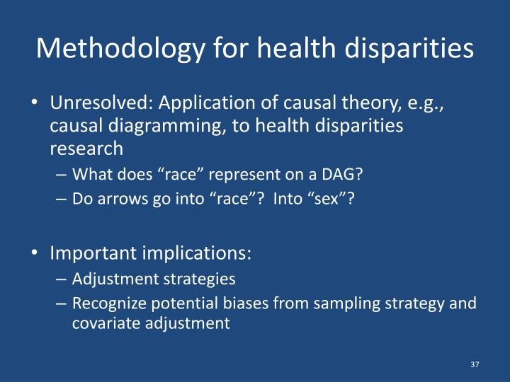 Methodology for health disparities