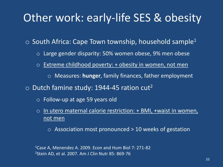 Other work: early-life SES & obesity